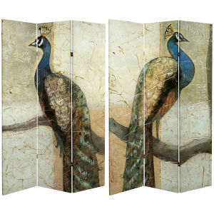 Tall Doubl;e Sided Peacock Multicolor Canvas Room Divider