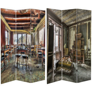Tall Double Sided Abandones Chamber Multicolor Canvas Room Divider