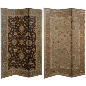 Tall Double Sided Persian Brown Canvas Room Divider