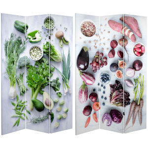 Tall Double Sided Farmers Market Multicolor Canvas Room Divider