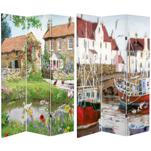 Tall Double Sided Country Village Multicolor Canvas Room Divider