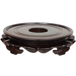 Brown 13-Inch Rosewood Lotus Stand