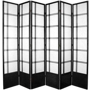 Double Cross Seven Ft. Tall Shoji Screen - Black Six Panel, Width - 102 Inches