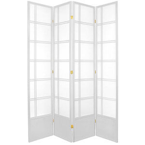 Double Cross Seven Ft. Tall Shoji Screen - White Four Panel, Width - 17 Inches