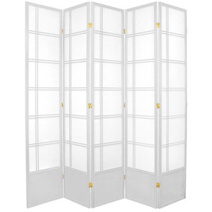Double Cross Seven Ft. Tall Shoji Screen - White Five Panel, Width - 17 Inches