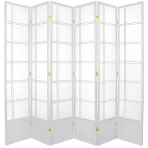 Double Cross Seven Ft. Tall Shoji Screen - White Six Panel, Width - 17 Inches
