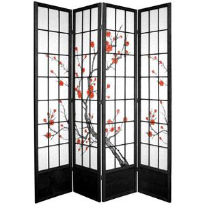 Seven Ft. Tall Cherry Blossom Shoji Screen - Black Four Panel, Width - 70 Inches