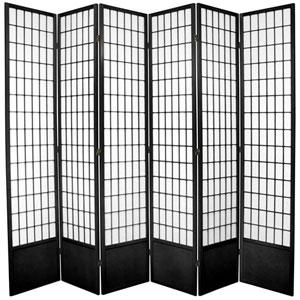 Window Pane Seven Ft. Tall Shoji Screen - Black Six Panel, Width - 102 Inches