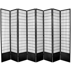 Window Pane Seven Ft. Tall Shoji Screen - Black Eight Panel, Width - 119 Inches