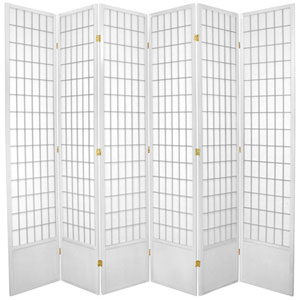 Window Pane Seven Ft. Tall Shoji Screen - White Six Panel, Width - 102 Inches