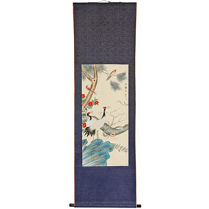 Pine Tree and Crane Scroll, Width - 23 Inches