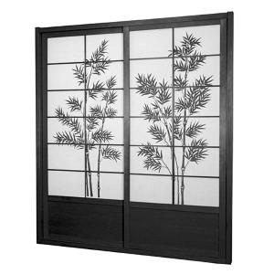 Black 7-Foot Tall Bamboo Tree Shoji Sliding Door Kit