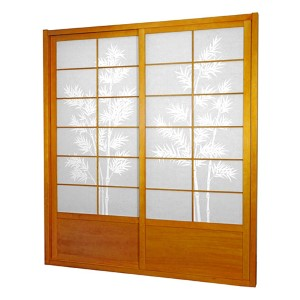 Honey 7-Foot Tall Bamboo Tree Shoji Sliding Door Kit