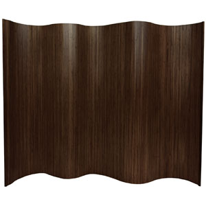 Six Ft. Tall Bamboo Wave Screen - Dark Mocha, Width - 98 Inches