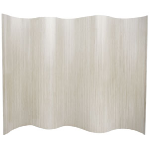 Six Ft. Tall Bamboo Wave Screen - White, Width - 98 Inches