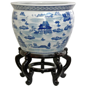 14 Inch Porcelain Fishbowl Blue and White Landscape