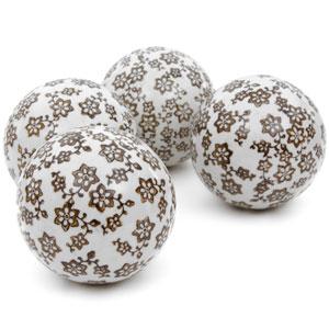 4-inch Gold Star Flowers Porcelain Ball Set