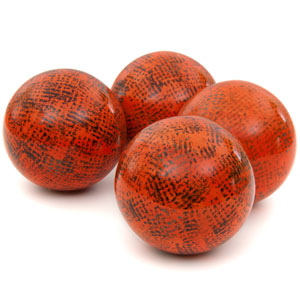 4-inch Sponged Dark Orange Porcelain Ball Set
