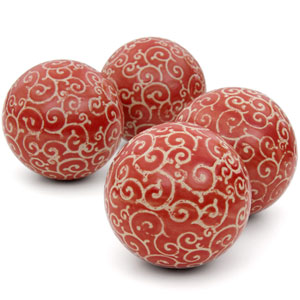 4-inch Red and Beige Vines Porcelain Ball Set