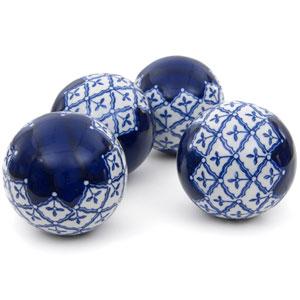 4-inch Blue and White Medallions Porcelain Ball Set
