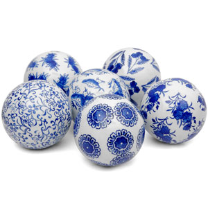 4 Inch Blue and White Decorative Porcelain Ball Set of 6, Width - 4 Inches