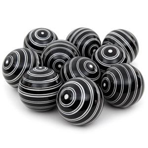 3-inch White Double Stripes Porcelain Ball Set