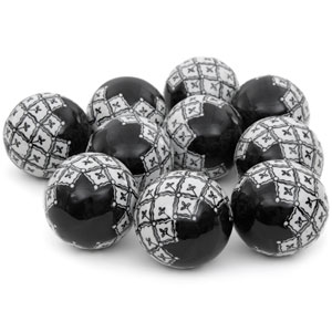 3-inch Black and White Porcelain Ball Set