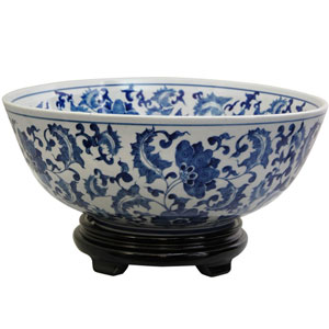14 Inch Porcelain Bowl Blue and White Floral, Width - 14 Inches