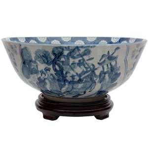 14 Inch Ladies Blue and White Porcelain Bowl, Width - 14 Inches
