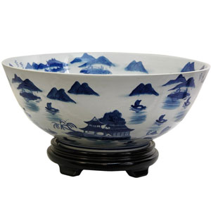 14 Inch Porcelain Bowl Blue and White Landscape, Width - 14 Inches