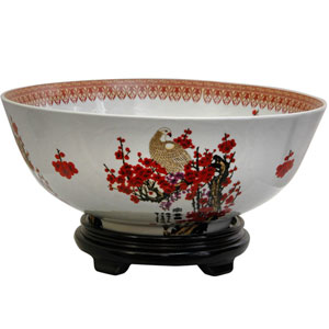 14 Inch Porcelain Bowl Cherry Blossom, Width - 14 Inches