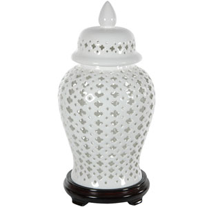 16 Inch Carved Lattice Decorative Temple Jar, Width - 9 Inches