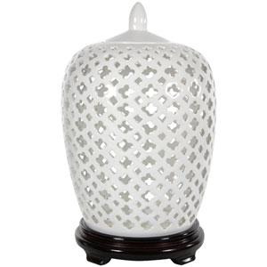 12 Inch Carved Lattice Decorative Vase Jar, Width - 9 Inches