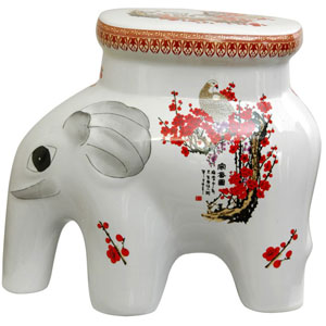 14 Inch Porcelain Elephant Stool Cherry Blossom, Width - 16 Inches