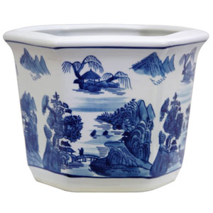 10 Inch Porcelain Flower Pot Blue and White Landscape