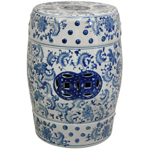 18 Inch Lacquered Porcelain Garden Stool Blue and White Floral, Width - 13 Inches