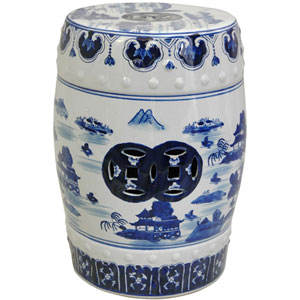 18 Inch Lacquered Porcelain Garden Stool Blue and White Landscape, Width - 13 Inches