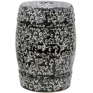 18-inch Black and White Floral Porcelain Garden Stool