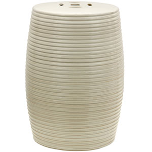 18-inch Beige Ribbed Porcelain Garden Stool