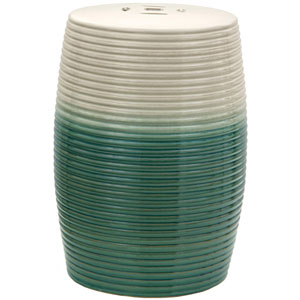 18-inch Beige and Green Ribbed Porcelain Garden Stool