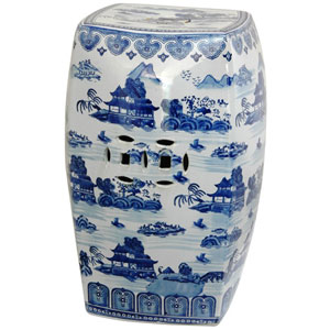 18 Inch Square Porcelain Garden Stool Blue and White Landscape, Width - 12 Inches