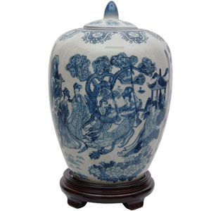 11 Inch Ladies Blue and White Porcelain Vase Jar, Width - 8 Inches