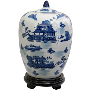 11 Inch Porcelain Vase Jar Blue and White Landscape, Width - 8 Inches