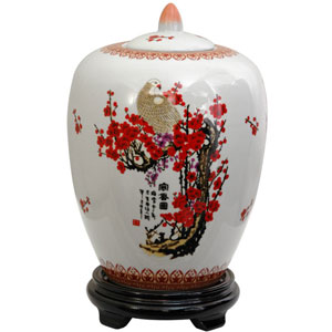 11 Inch Porcelain Vase Jar Cherry Blossom, Width - 8 Inches