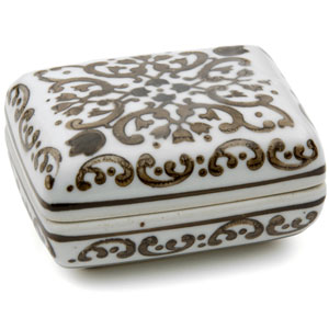 3.5-inch Floral Brown and White Porcelain Small Jewelry Box