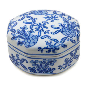 4-inch Floral Blue and White Small Porcelain Jewelry Box