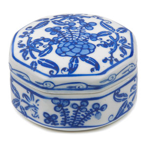 3-inch Floral Blue and White Small Porcelain Jewelry Box
