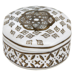 3-inch Brown and White Medallions Porcelain Small Jewelry Box