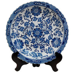 14 Inch Porcelain Plate Blue and White Floral, Width - 14 Inches