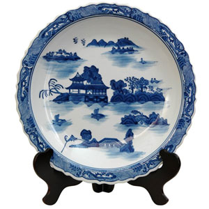 14 Inch Porcelain Plate Blue and White Landscape, Width - 14 Inches